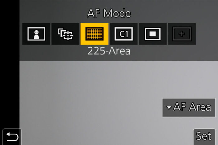 The AF mode menu
