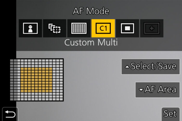 The Custom Multi option in the AF mode menu