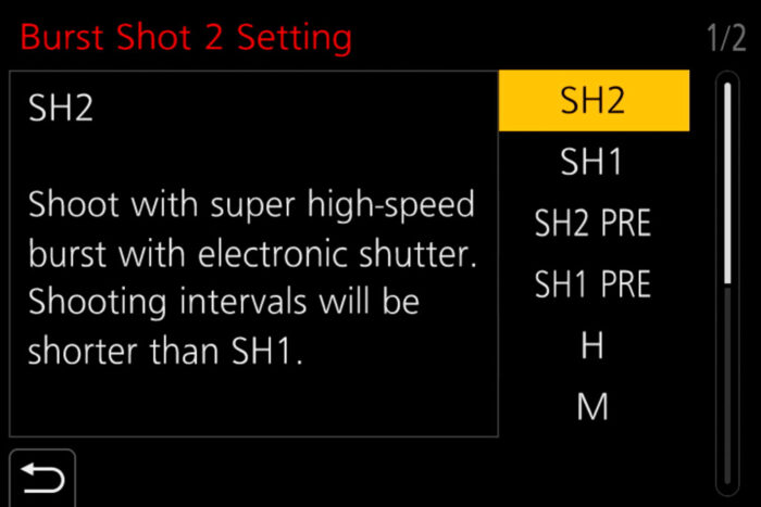 The SH1 PRE and SH2 PRE modes in the menu