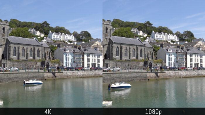 The same scene shot at 4K and 1080p