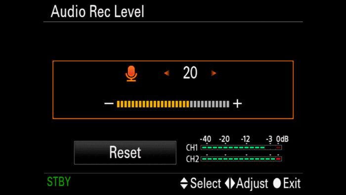 Audio Record Level menu