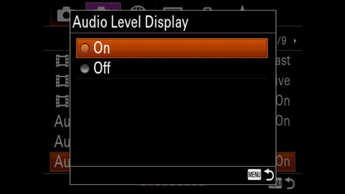 Audio Level Display menu