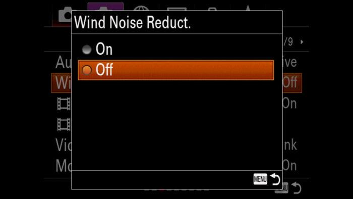 Wind Noise Reduction menu