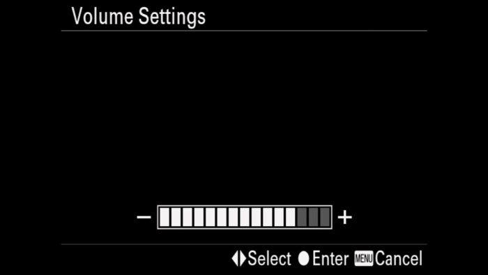 Volume Settings menu