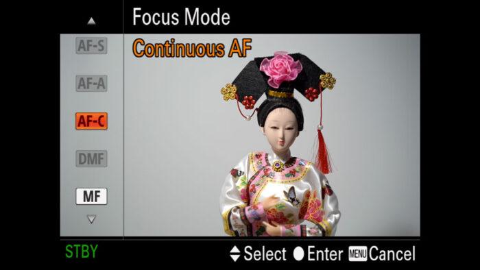 Focus Mode menu