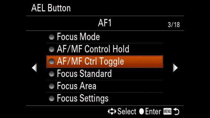 The AF/MF Control Toggle option