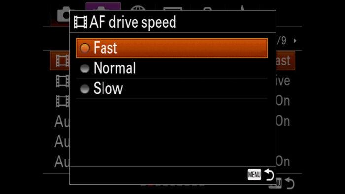 The AF Drive speed menu