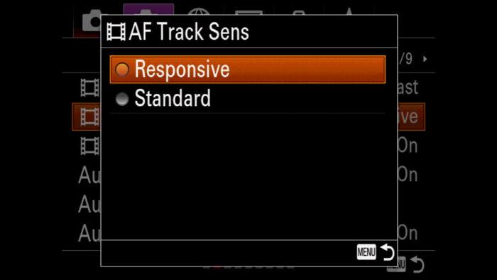 The AF Track Sens menu