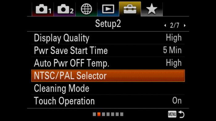 The NTSC/PAL selector in the Setup 2 menu