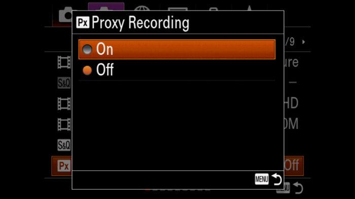 The Proxy Recording menu