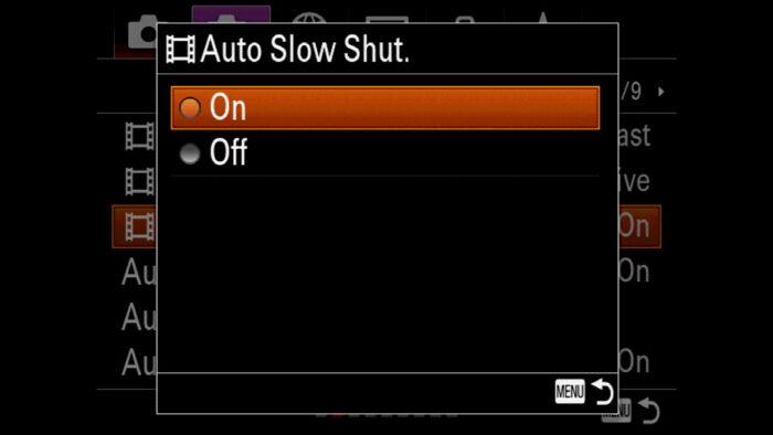 The Auto Slow Shutter menu