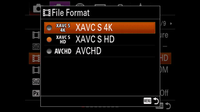 File format menu on the Sony A7 series