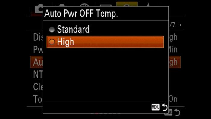The Auto Power Off Temp menu