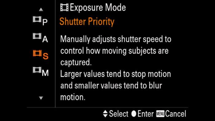 The Exposure mode menu