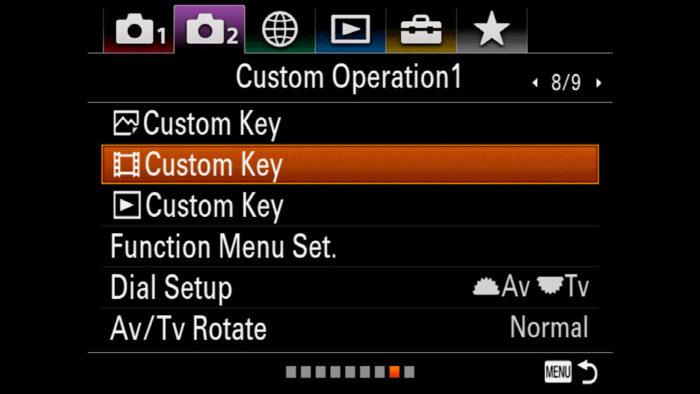 The Custom Operation 1 menu