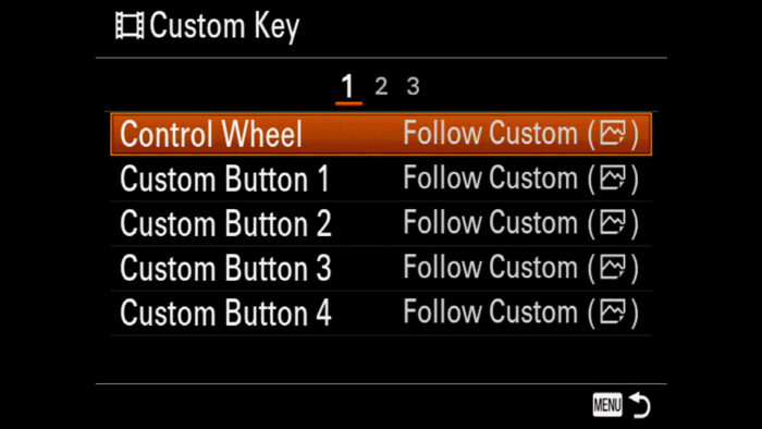 The Custom Key menu