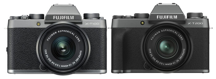 Fujifilm X-T100 vs X-T200 front view
