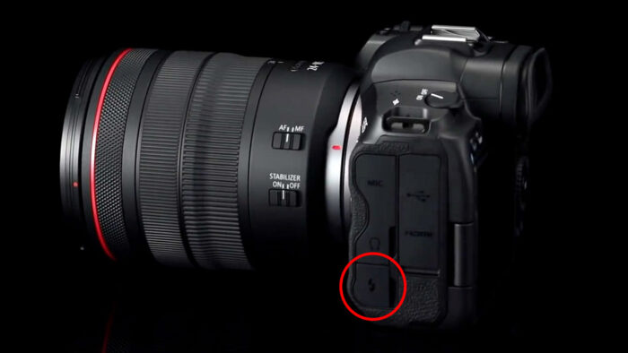 The flash sync port on the EOS R5