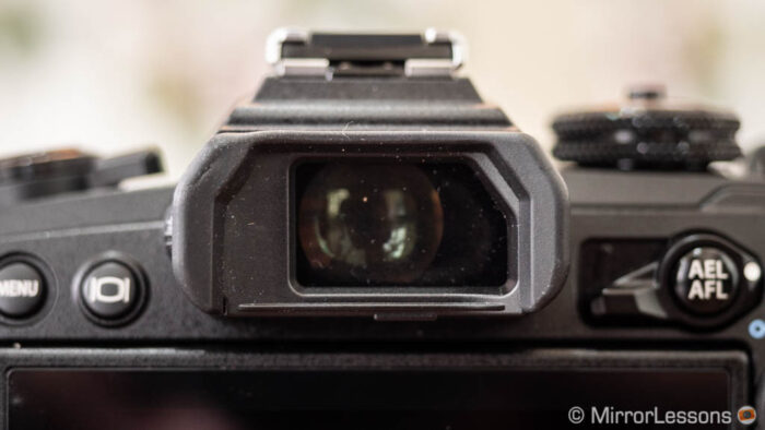 The E-M1 III electronic viewfinder