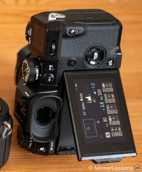 The flip out screen of the X-H1