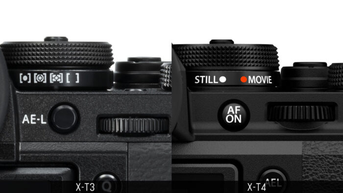 Comparison of the sub-dial and rear command dial of the X-T3 and X-T4