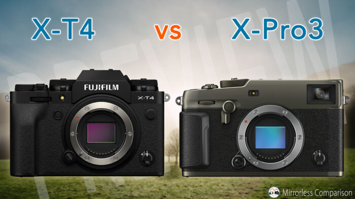 xt4 and xpro3 side by side, front view
