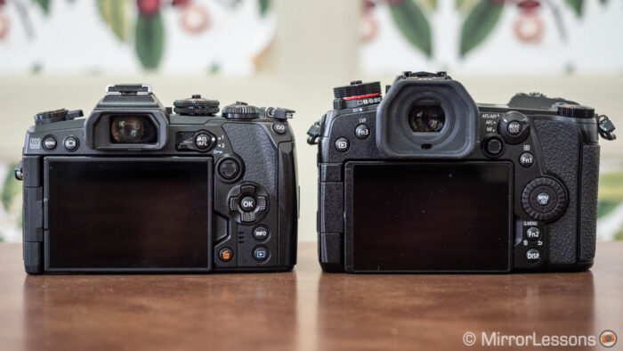 Rear view of the E-M1 III and G9