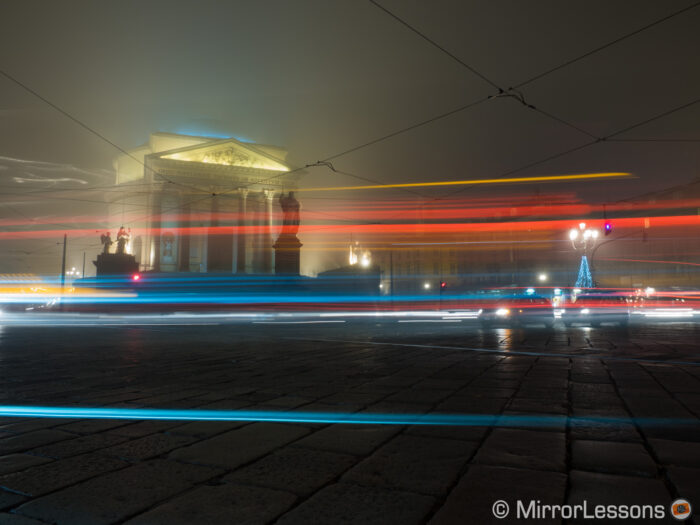 night city shot taken in Turin with a 10 second shutter speed