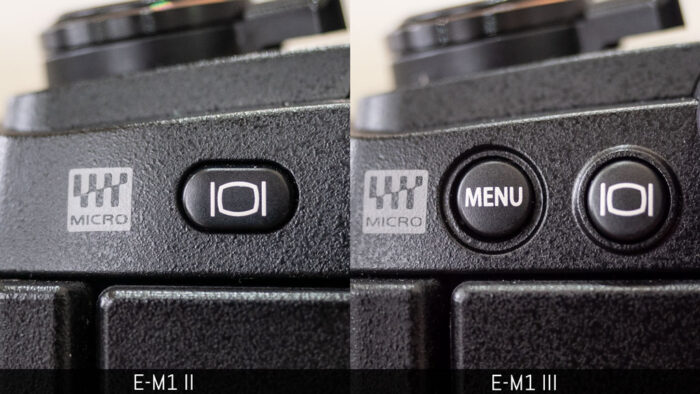 Position of the menu button on the E-M1 III in comparison to the E-M1 II