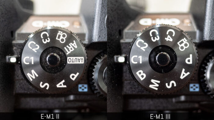 The shooting mode dials of the E-M1 II and E-M1 III