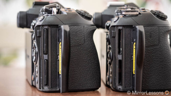 The dual card slots on both cameras