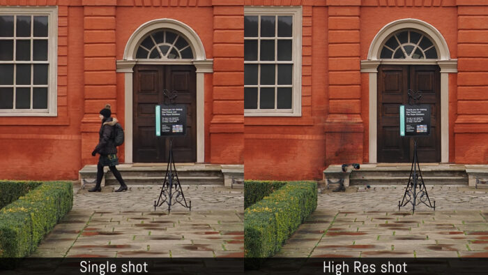 An image comparing the single shot and high res shot modes. The walking person is blurry in the high res shot example.