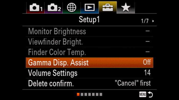 The Gamma Display Assist option in the Sony menu