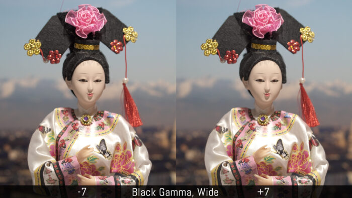 Comparison of -7 and +7 with the Black Gamma wide setting