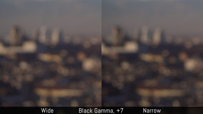 Comparison between Wide and Narrow with Black Gamma +7