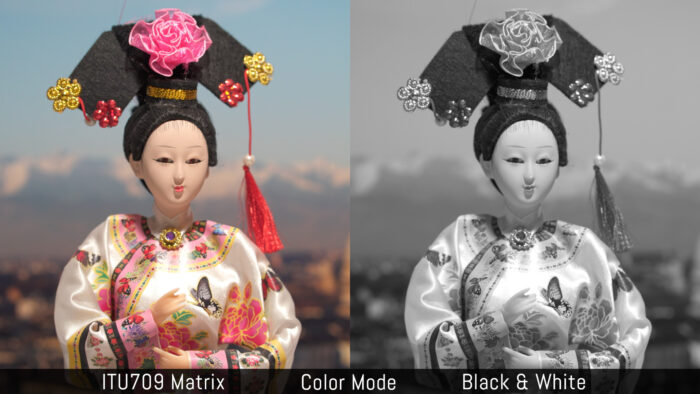 ITU709 Matrix versus Black and White in the Color Mode menu
