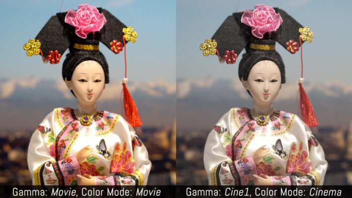 Gamma: Movie, Color Mode: Movie versus Gamma: Cine1, Color Mode: Cinema