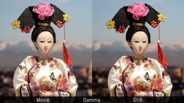Movie versus Stills using the gamma settings