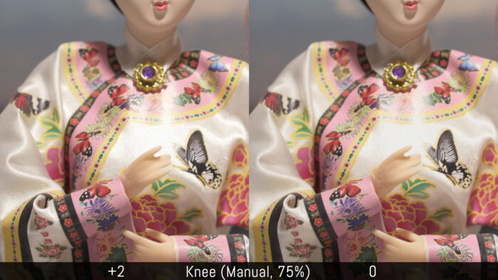Knee Manual 75%. A comparison between +2 and 0.