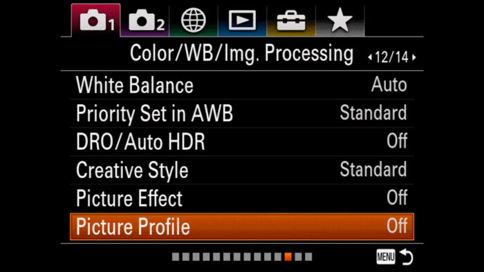 The location of Picture Profile sub menu in the Sony menu