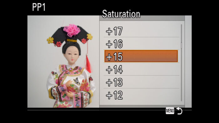 The Saturation menu