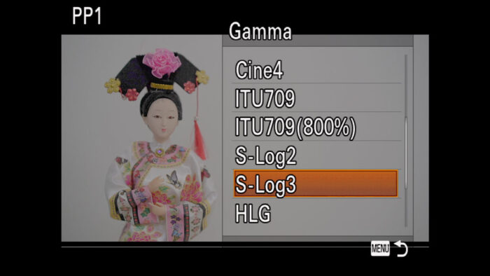 The Gamma menu