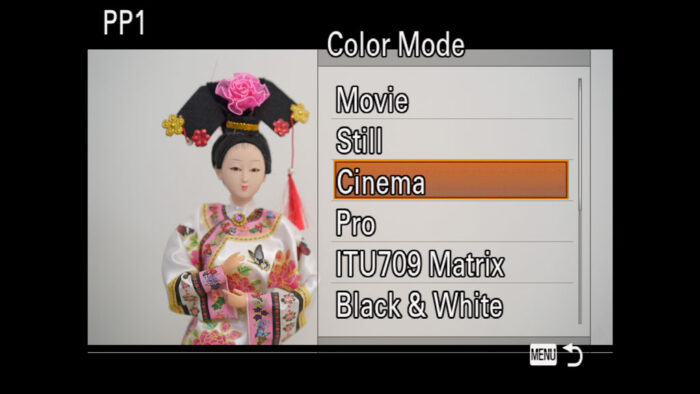 The Color Mode menu