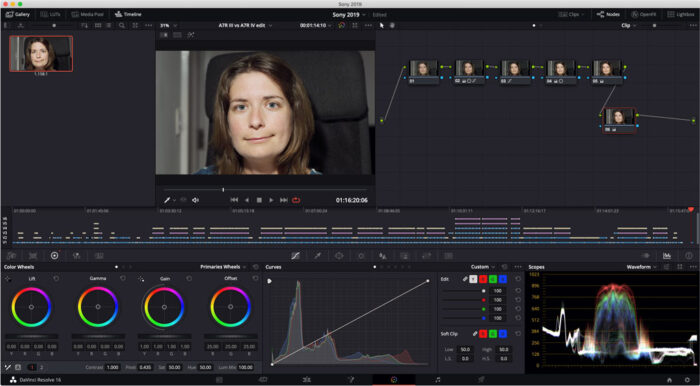 Screenshot of Davinci Resolve software
