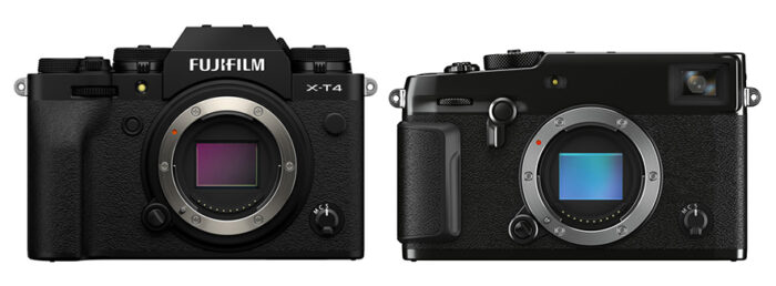 Front view of X-T4 and X-Pro3
