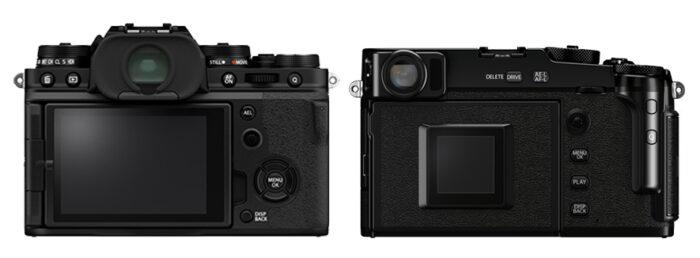 Rear view of X-T4 and X-Pro3