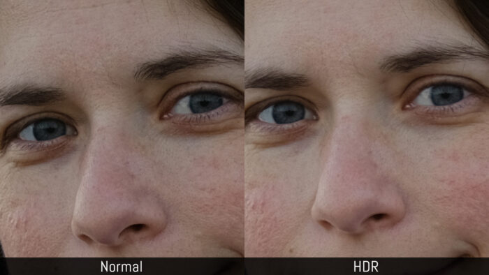 Comparison of the loss in sharpness in a person's face between a normal image and an HDR image