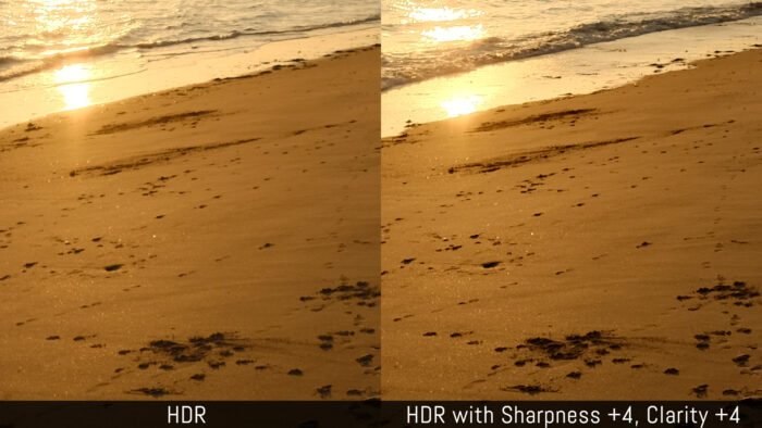 An HDR image versus an HDR image with sharpness +4 and clarity +4