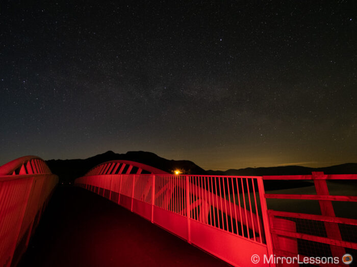 milky way and red bridge - unprocessed version
