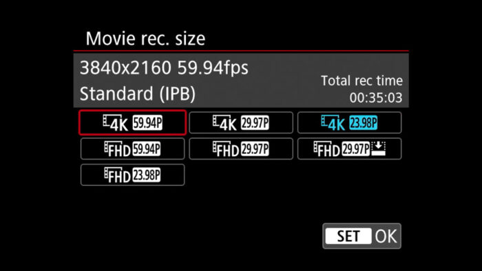 eos r6 video settings